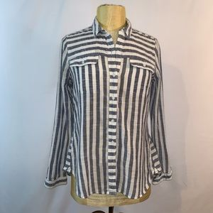 Lucky Brand Striped Button Down Tunic Top